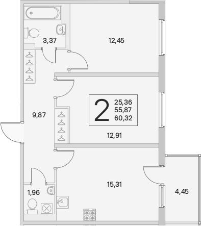 3Е-комнатная, 57.21 м²– 2
