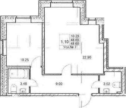 2-к.кв (евро), 48.65 м²