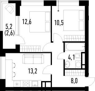 2-комнатная, 51 м²– 2