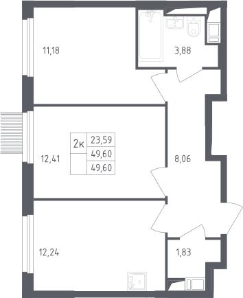 2-комнатная, 49.6 м²– 2