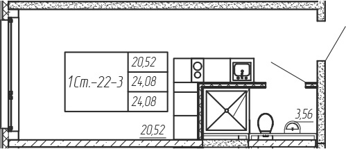 Студия, 24.08 м²– 2