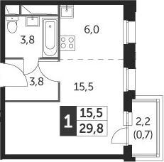 Студия, 29.8 м²– 2