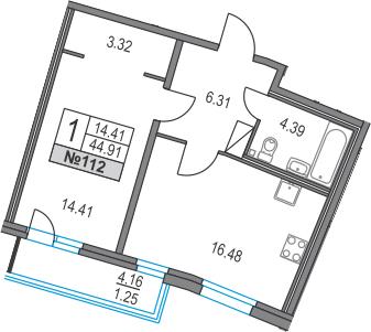 2-к.кв (евро), 49.07 м²