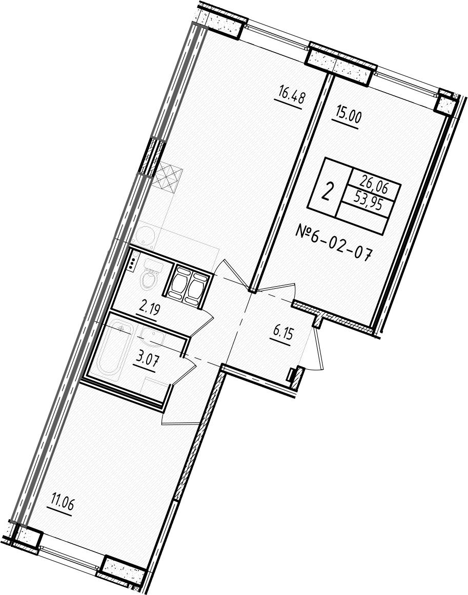 3-к.кв (евро), 53.95 м²