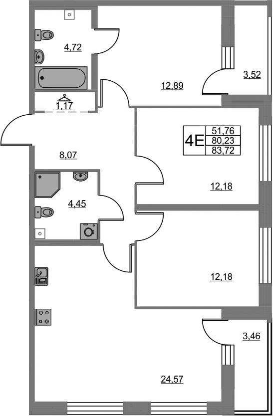 4-к.кв (евро), 87.21 м²