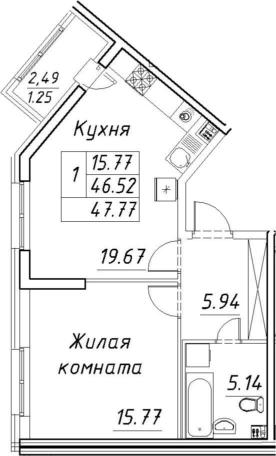 2-к.кв (евро), 49.02 м²