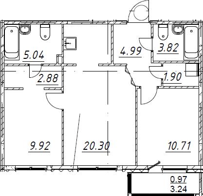3Е-к.кв, 60.53 м², 1 этаж