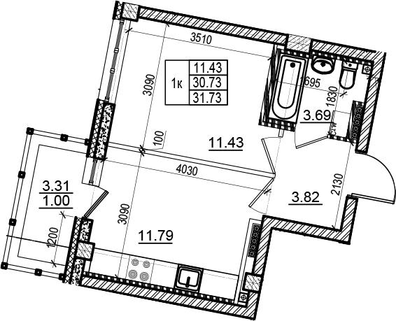1-комнатная, 31.73 м²– 2