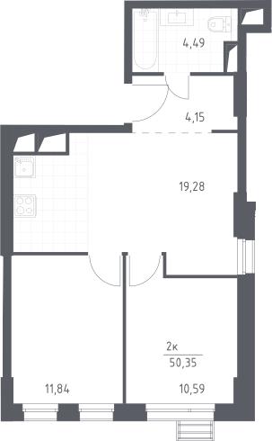 3Е-к.кв, 50.35 м², 27 этаж