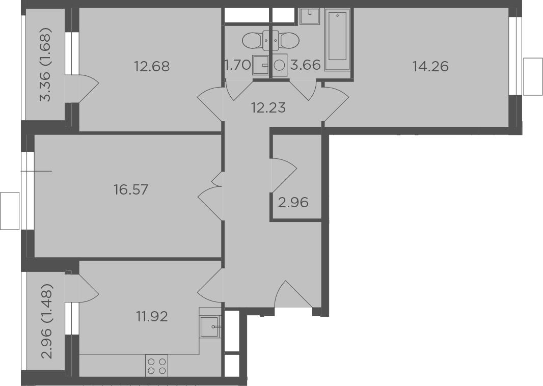 3-комнатная, 79.14 м²– 2