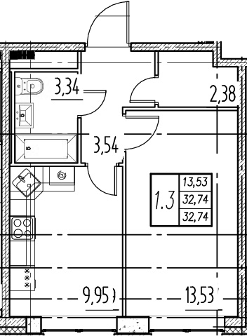 1-комнатная, 32.74 м²– 2