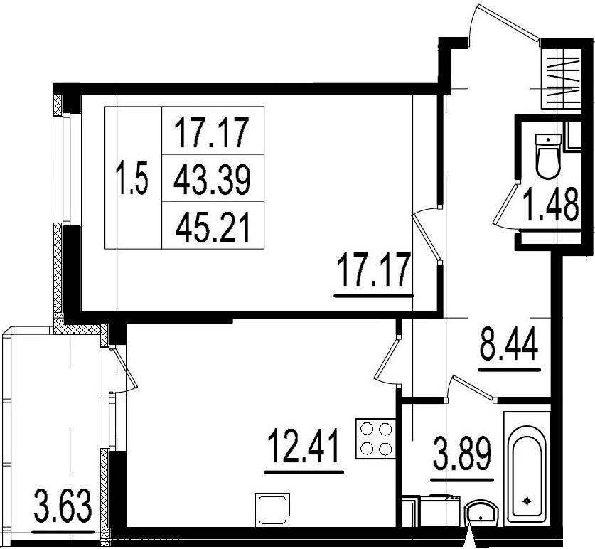1-к.кв, 43.39 м²