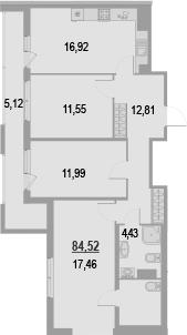 3-к.кв, 89.64 м²