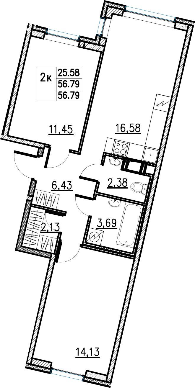 3Е-комнатная, 56.79 м²– 2