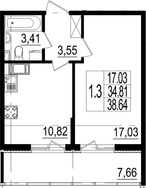 1-комнатная, 34.81 м²– 2