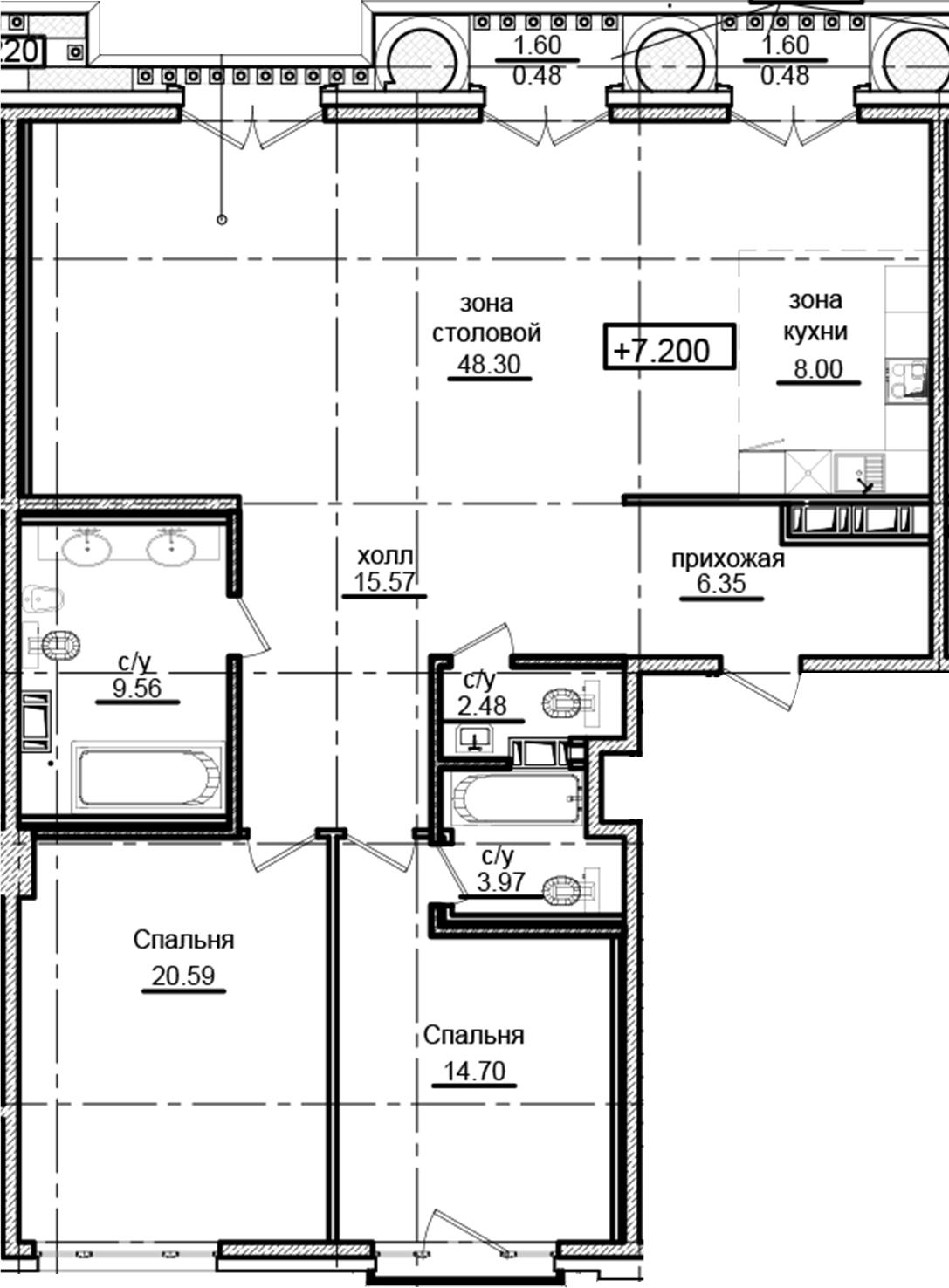 3Е-к.кв, 130.48 м²