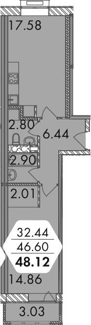 2-к.кв (евро), 49.62 м²
