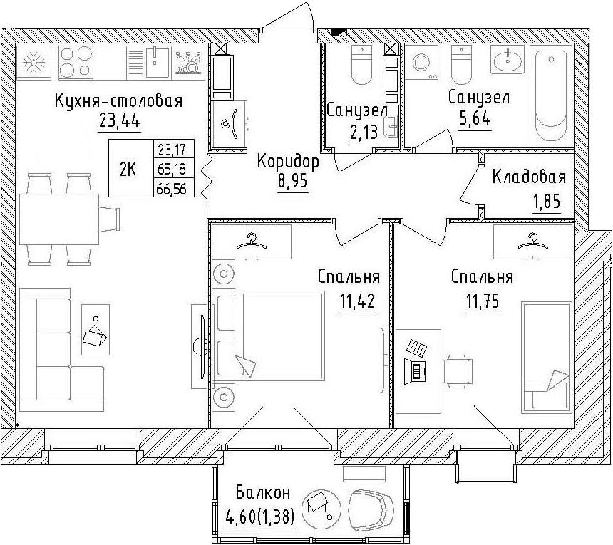 2-к.кв, 69.78 м²