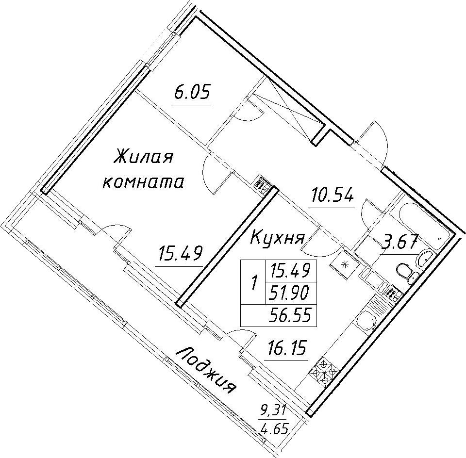 2-к.кв (евро), 61.2 м²