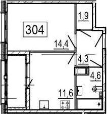 1-к.кв, 38.9 м², 6 этаж