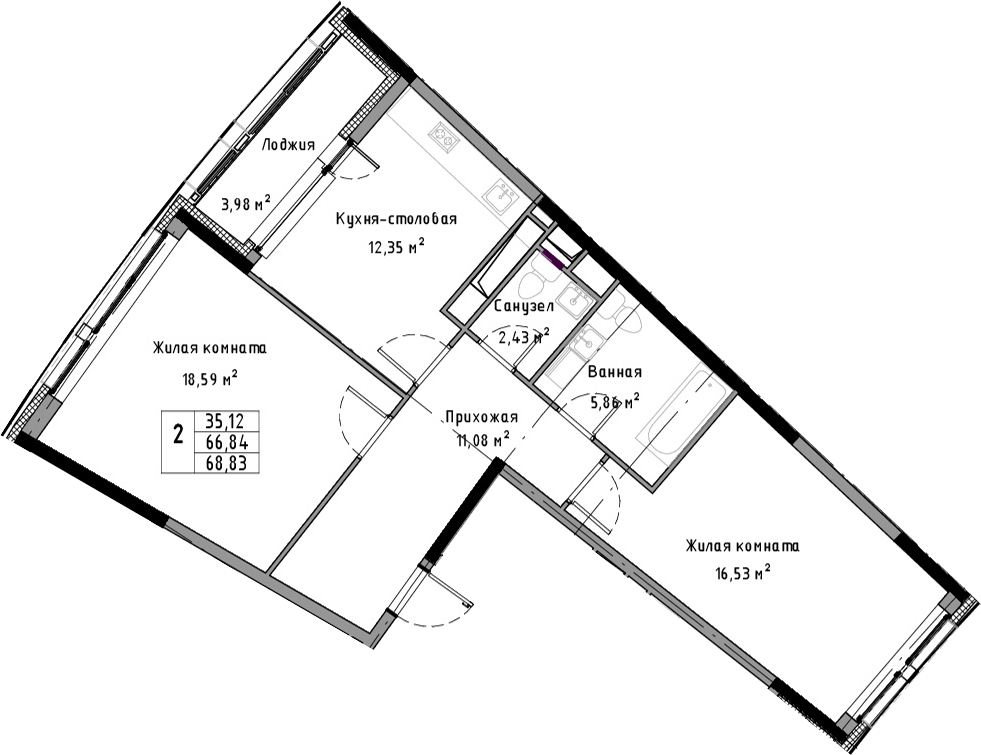 2-к.кв, 70.82 м²