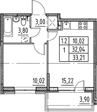 2Е-комнатная, 32.04 м²– 2