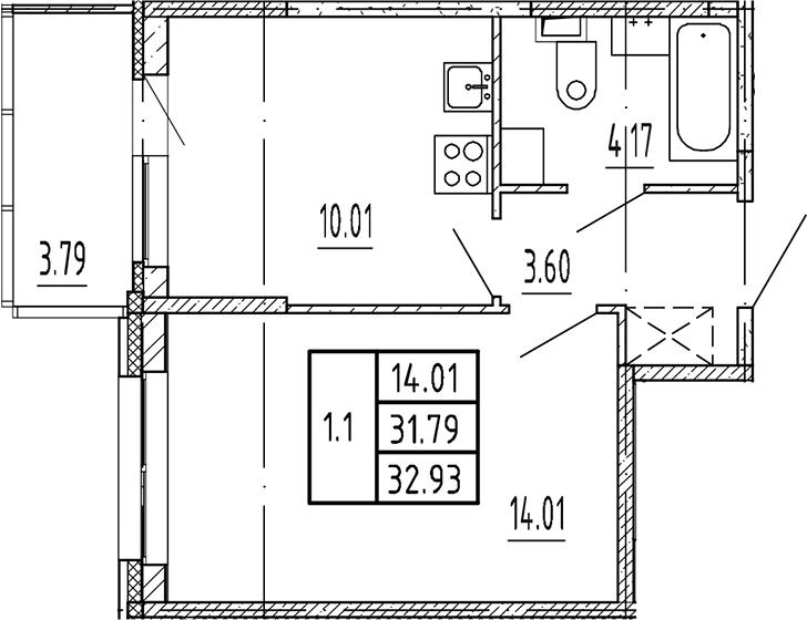 1-к.кв, 31.79 м²