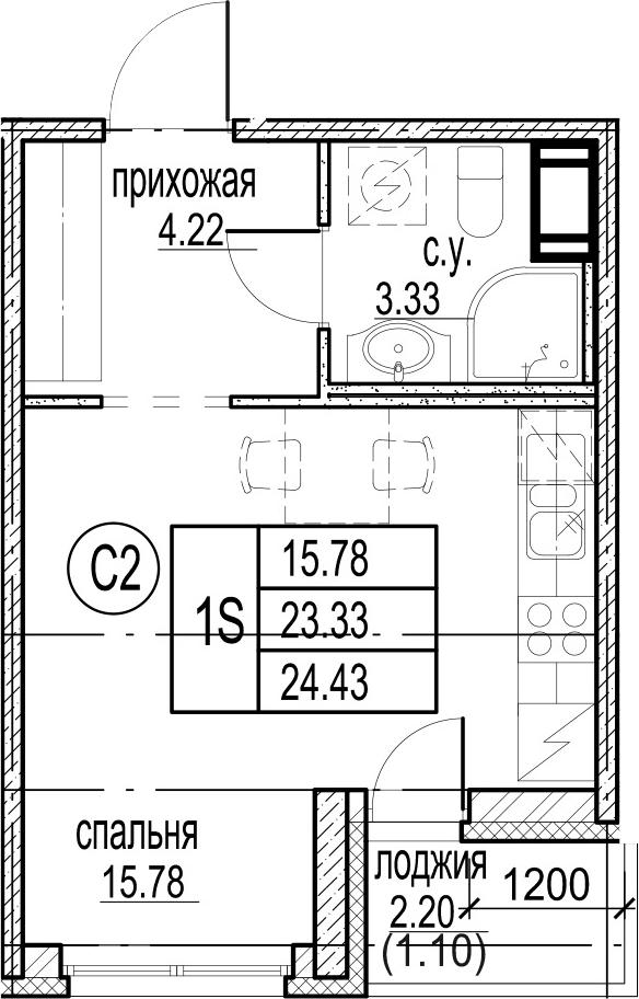 Студия, 24.43 м²– 2