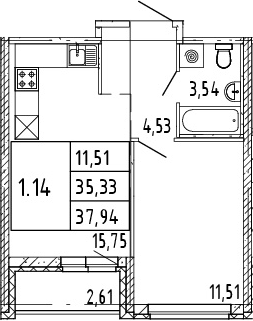 2Е-комнатная квартира, 36.64 м², 4 этаж – Планировка