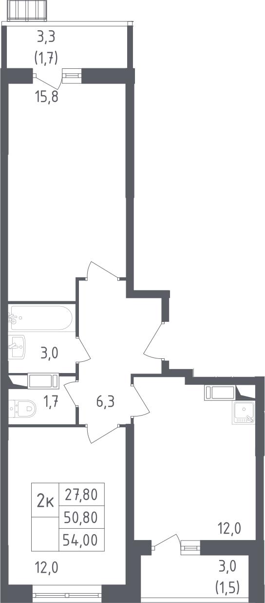 2-комнатная, 54 м²– 2