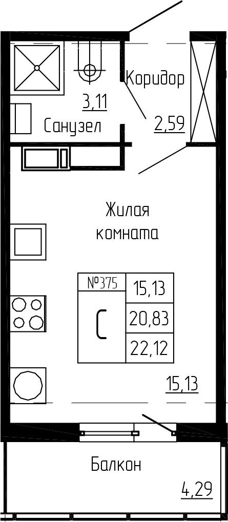 Студия, 22.12 м²– 2