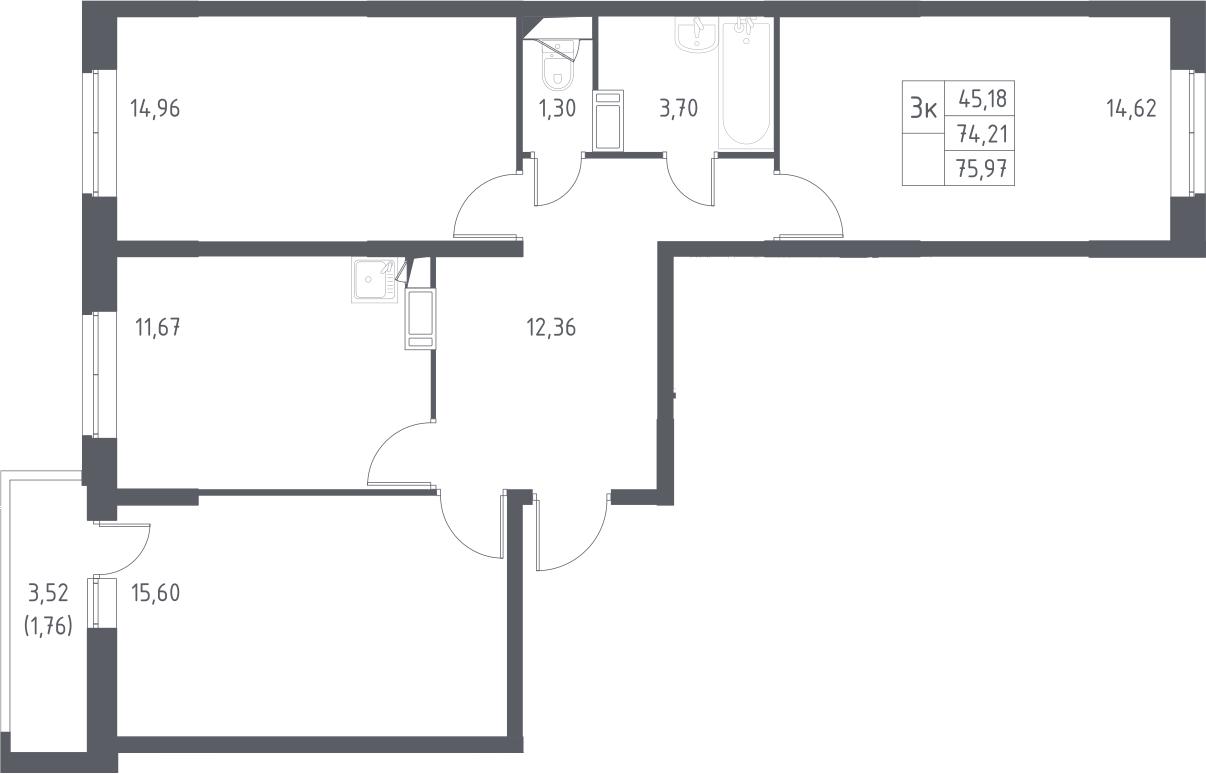 3-к.кв, 77.73 м²