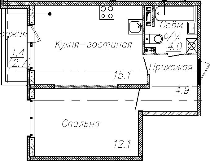 2Е-к.кв, 36.1 м², 3 этаж