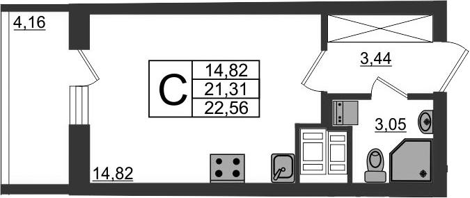 Студия, 21.31 м²