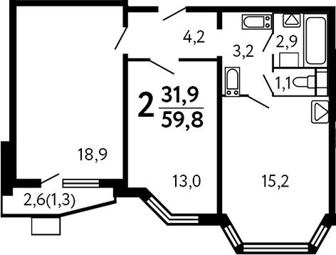 3-к.кв (евро), 61.1 м²