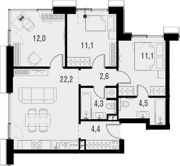 4Е-к.кв, 72.2 м², 2 этаж