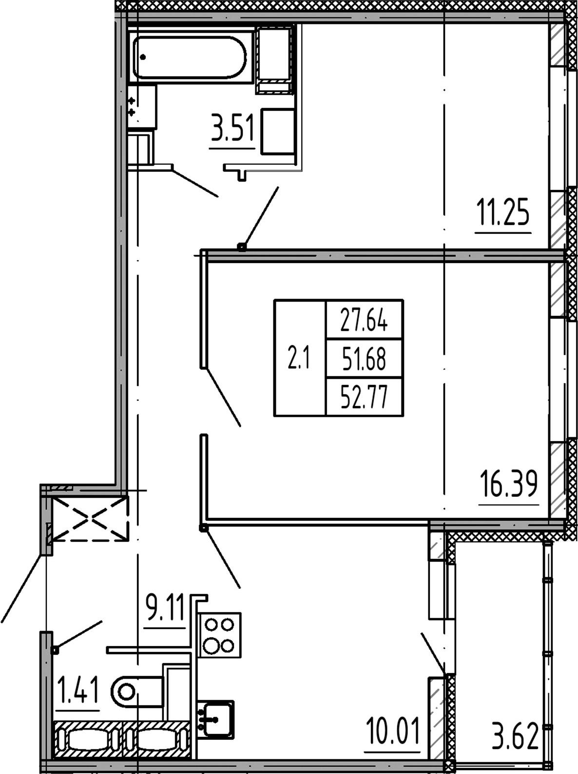 2-к.кв, 51.68 м²