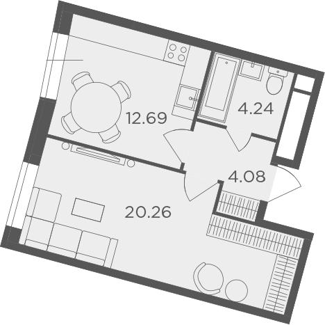 1-комнатная, 41.27 м²– 2