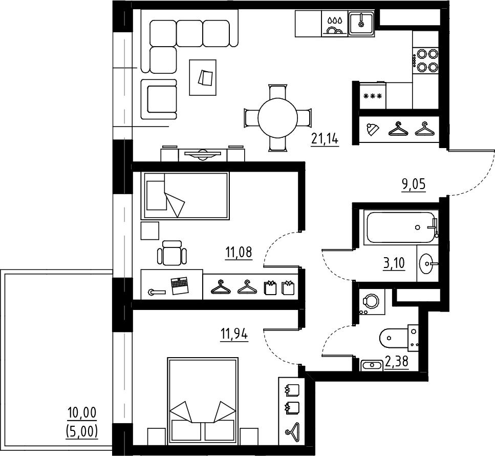 3Е-к.кв, 58.69 м², 1 этаж