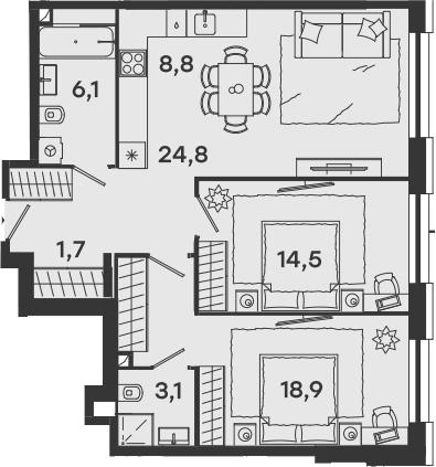 3-к.кв (евро), 77.9 м²