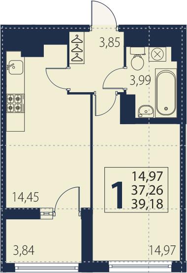 2-к.кв (евро), 41.1 м²