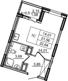 Студия, 22.64 м², от 4 этажа