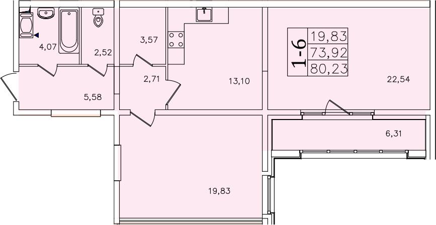 1-к.кв, 86.54 м²
