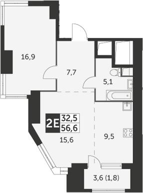 2Е-комнатная, 56.6 м²– 2