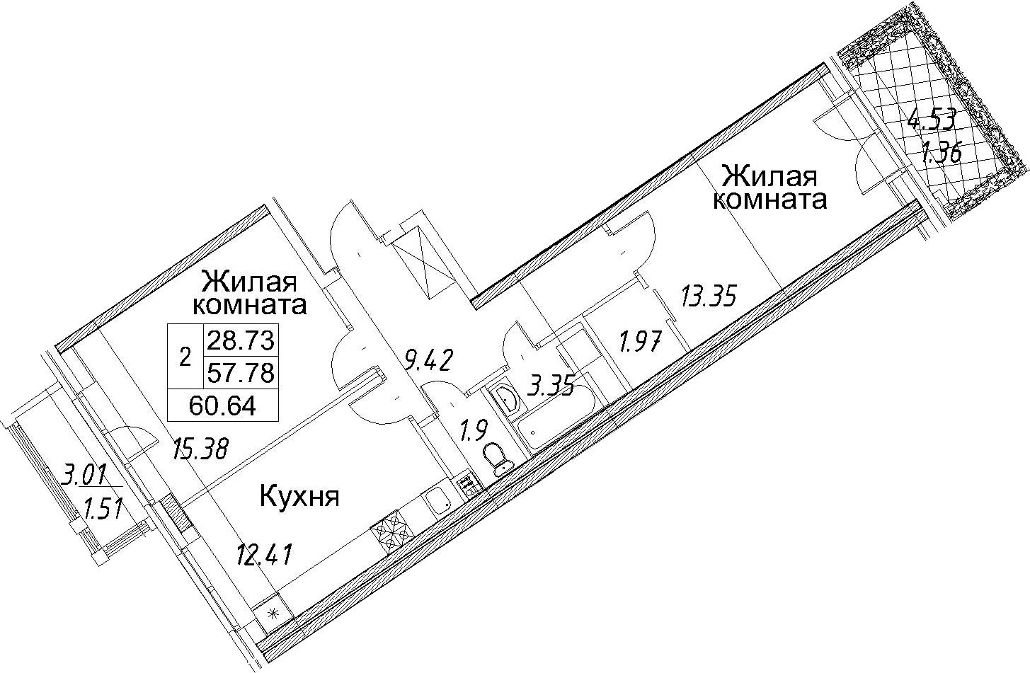 2-к.кв, 60.64 м²