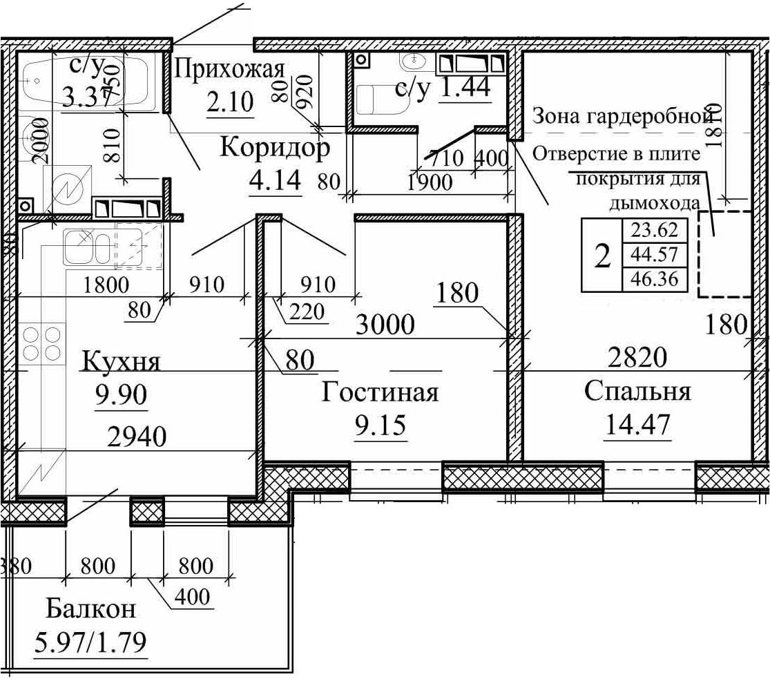 2-к.кв, 46.36 м²