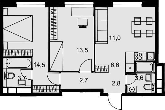 3Е-к.кв, 58.4 м², 31 этаж