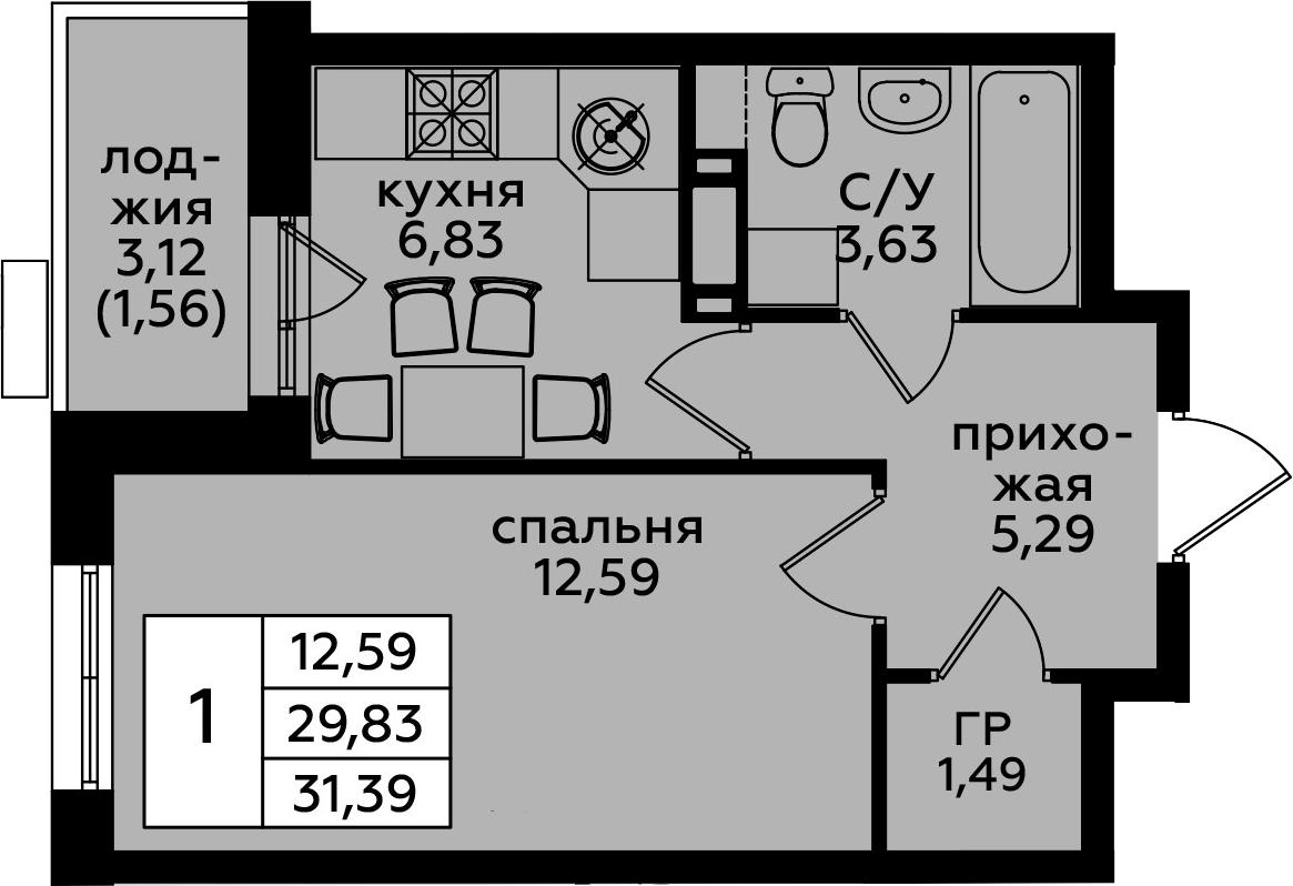 1-к.кв, 31.39 м²