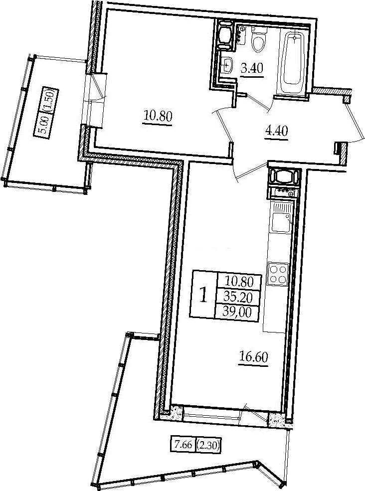 2Е-к.кв, 39 м²