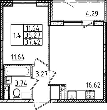 2Е-комнатная, 35.27 м²– 2